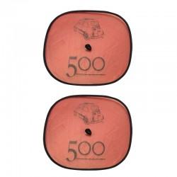 Coppia tendine parasole laterali con ventosa FIAT 500 fondo rosso